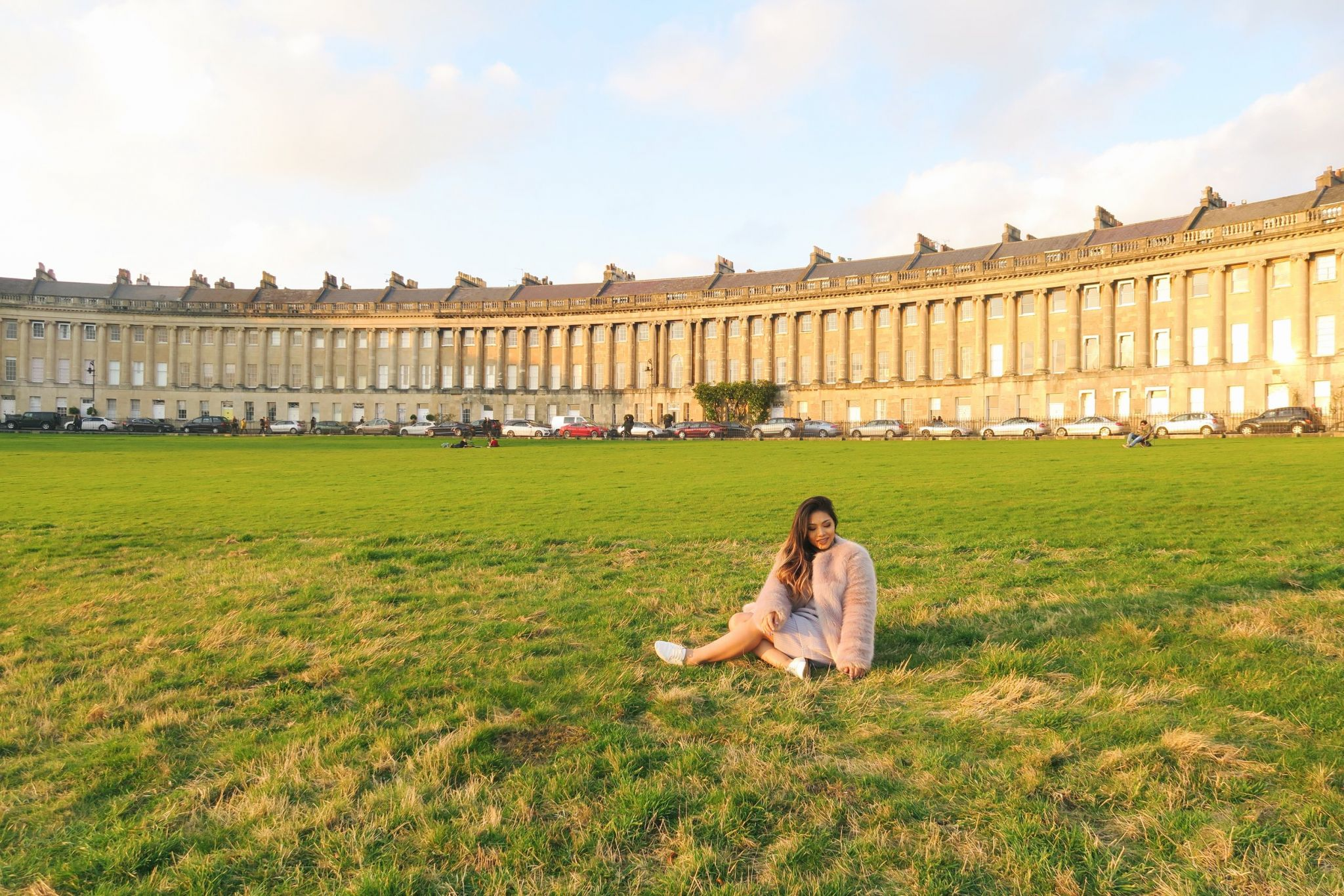 Basking in the sun at Victoria Park, while enjoying my beautiful background, the Royal Crescent .